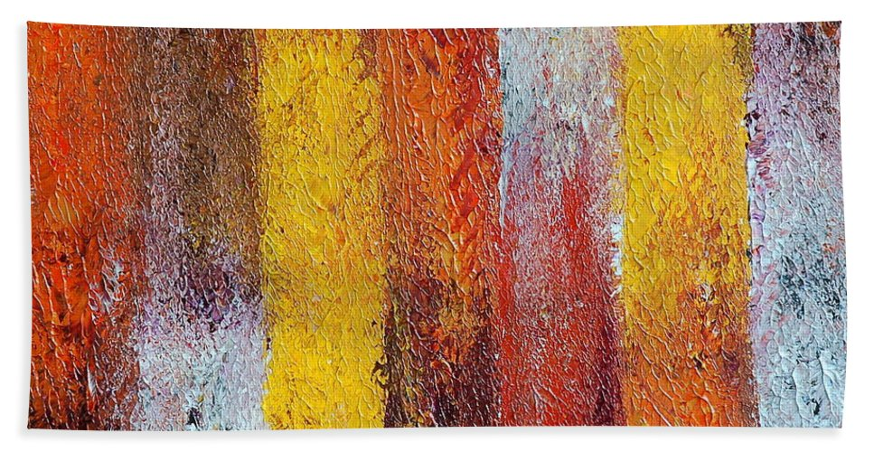 Abstract Hand Towel featuring the painting Passage by Teresa Wegrzyn