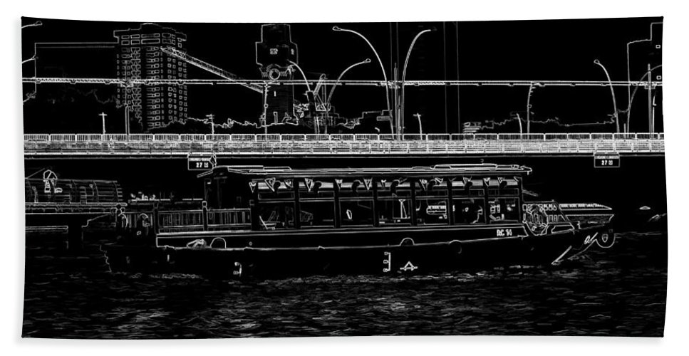 Action Bath Sheet featuring the digital art Pencil - Colorful River Cruise Boat In Singapore Next To A Bridge by Ashish Agarwal
