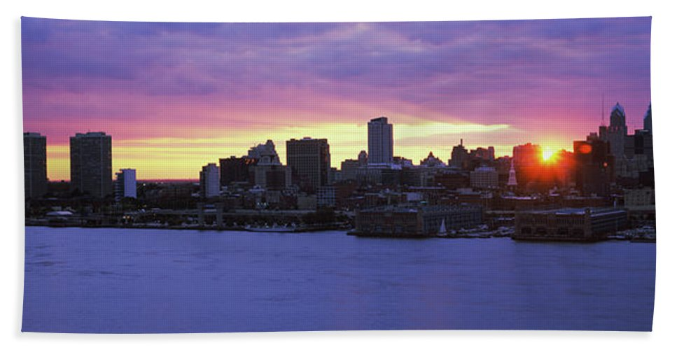 Photography Bath Sheet featuring the photograph Philadelphia Skyline At Dusk by Panoramic Images