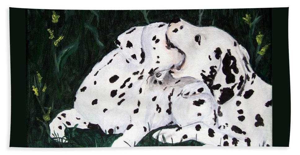 Dogs Hand Towel featuring the painting Playful Pups by Jacki McGovern