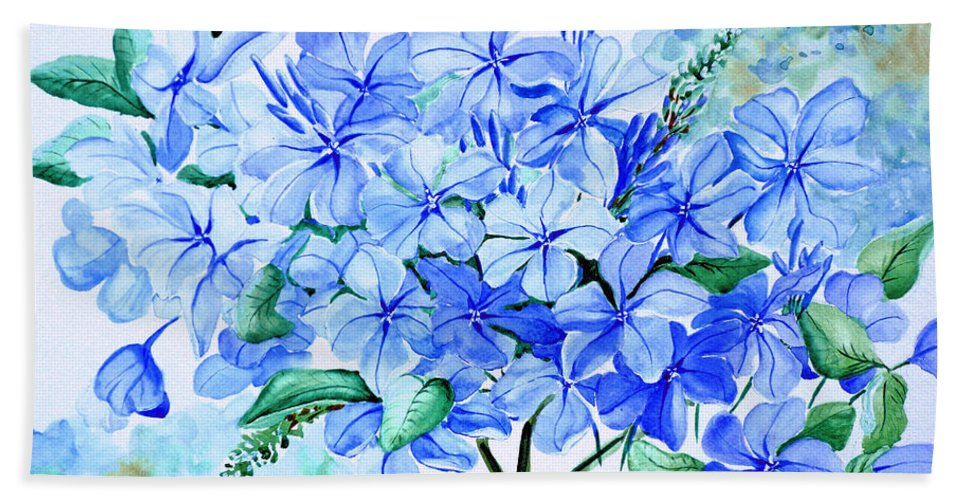 Blue Plumbago Hand Towel featuring the painting Plumbago by Karin Dawn Kelshall- Best