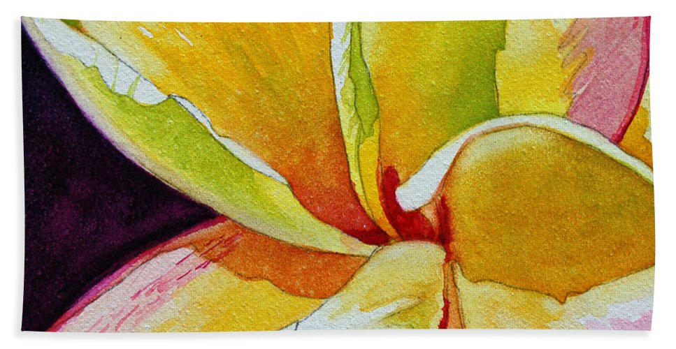 Plumeria Bath Sheet featuring the painting Plumeria by Terry Holliday