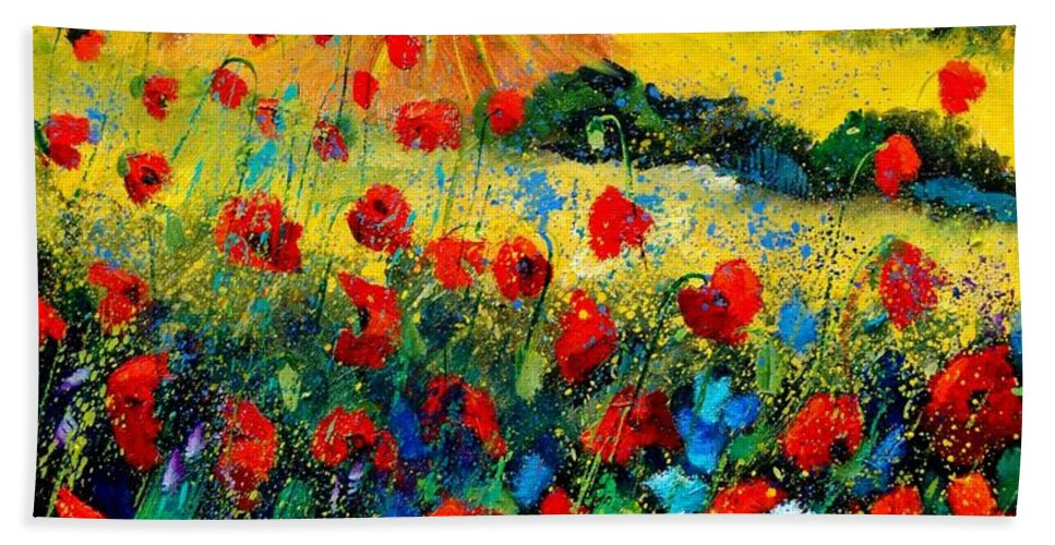 Flowersn Landscape Bath Towel featuring the painting Poppies in Tuscany by Pol Ledent