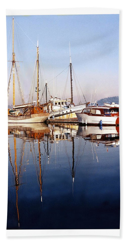 Yacht Portraits Hand Towel featuring the photograph Port Orchard Marina Reflections by Jack Pumphrey
