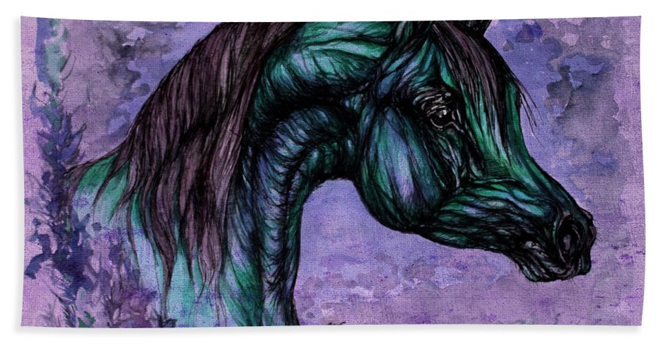 Horse Bath Sheet featuring the painting Psychedelic Blue by Angel Ciesniarska