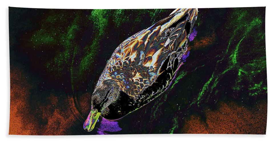 Psychedelic Hand Towel featuring the photograph Psychedelic Mallard Duck 1 by Peter Lloyd