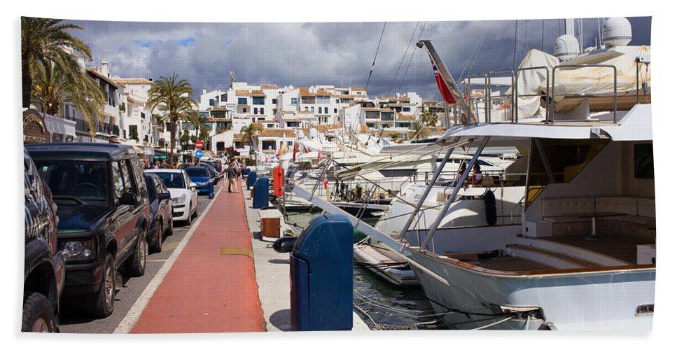 Marbella Hand Towel featuring the photograph Puerto Banus Marina by Artur Bogacki