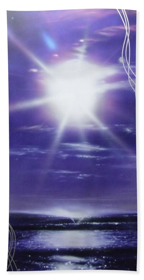 Ocean Art Hand Towel featuring the painting Purple Aura II by Christian Chapman Art