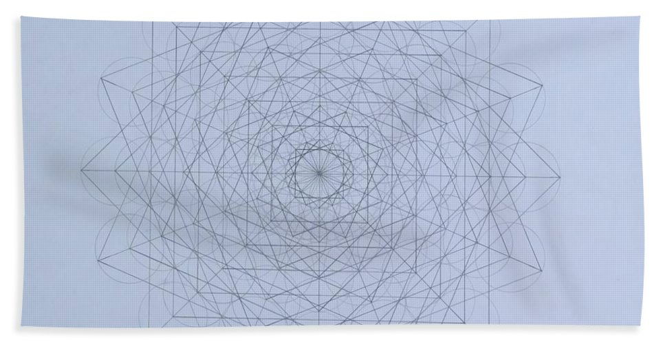 Jason Bath Towel featuring the drawing Quantum Foam by Jason Padgett