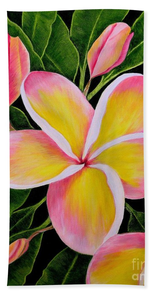 Flowers Hand Towel featuring the painting Rainbow Plumeria by Mary Deal