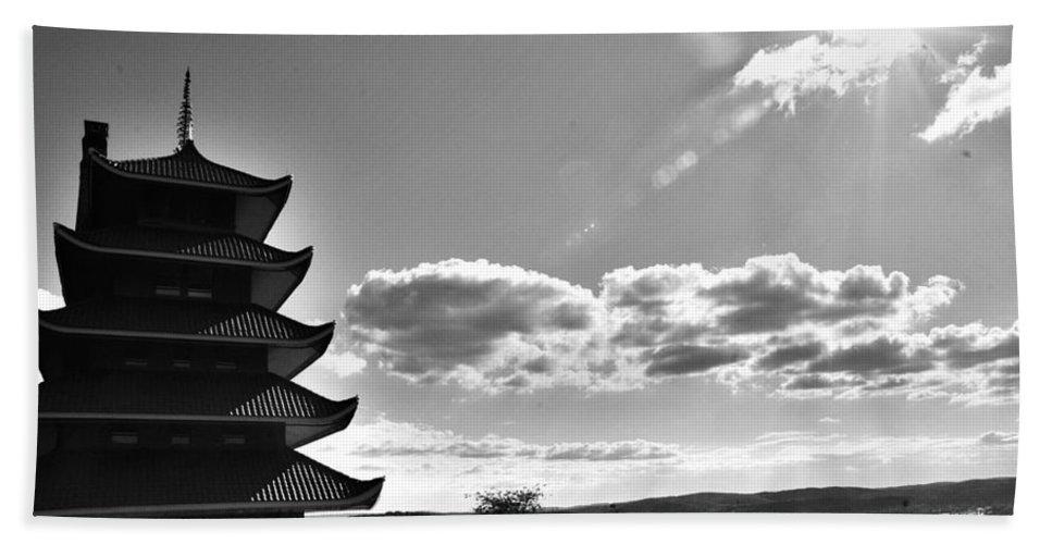 Bath Sheet featuring the photograph Reading Pagoda by Matt Zerbe