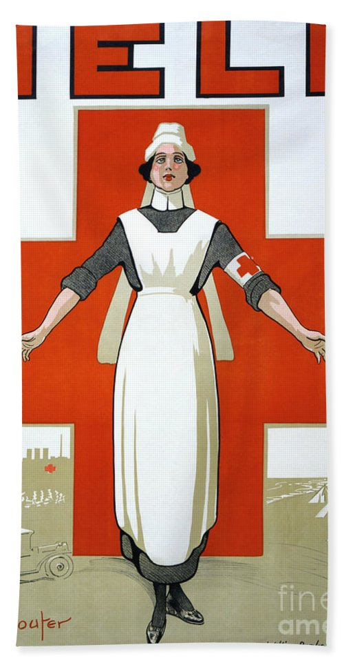 1917 Hand Towel featuring the photograph Red Cross Poster, C1917 by Granger