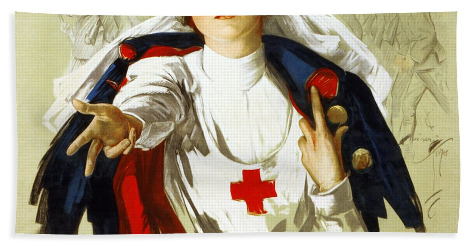 1918 Bath Sheet featuring the photograph Red Cross Poster, C1918 by Granger