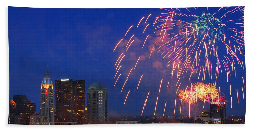 Red White Boom Hand Towel featuring the photograph D21l-10 Red White And Boom Fireworks Display In Columbus Ohio by Ohio Stock Photography