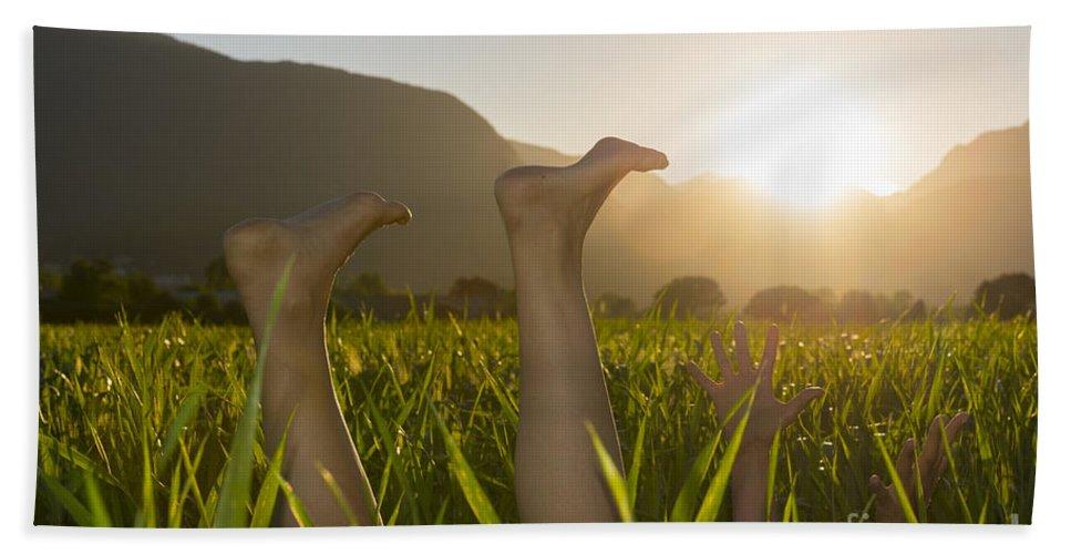 Woman Bath Sheet featuring the photograph Relaxing Moment by Mats Silvan