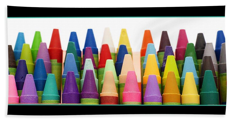 Crayon Bath Sheet featuring the photograph Rows Of Crayons by Donald Erickson