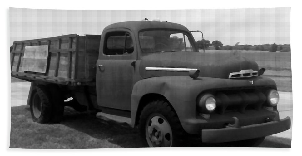 Truck Hand Towel featuring the photograph Rusty Ford Truck 2 by Glenn Aker