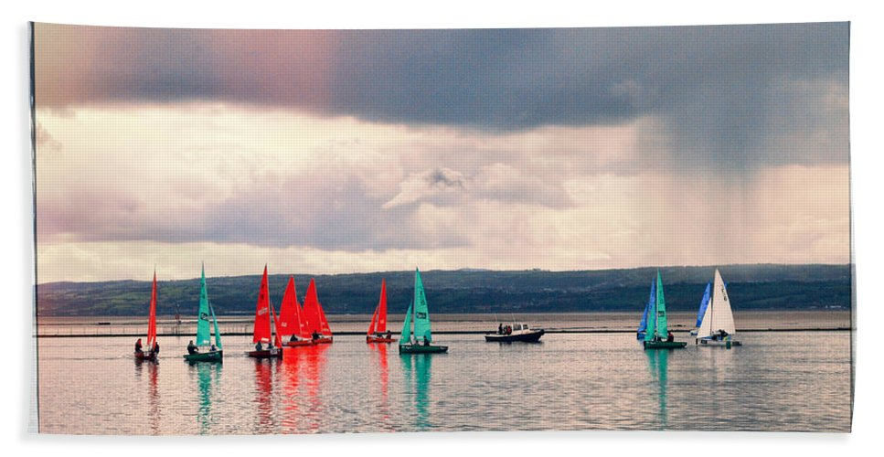 Sailboat Hand Towel featuring the photograph Sailing On Marine Lake A Reflection by Spikey Mouse Photography