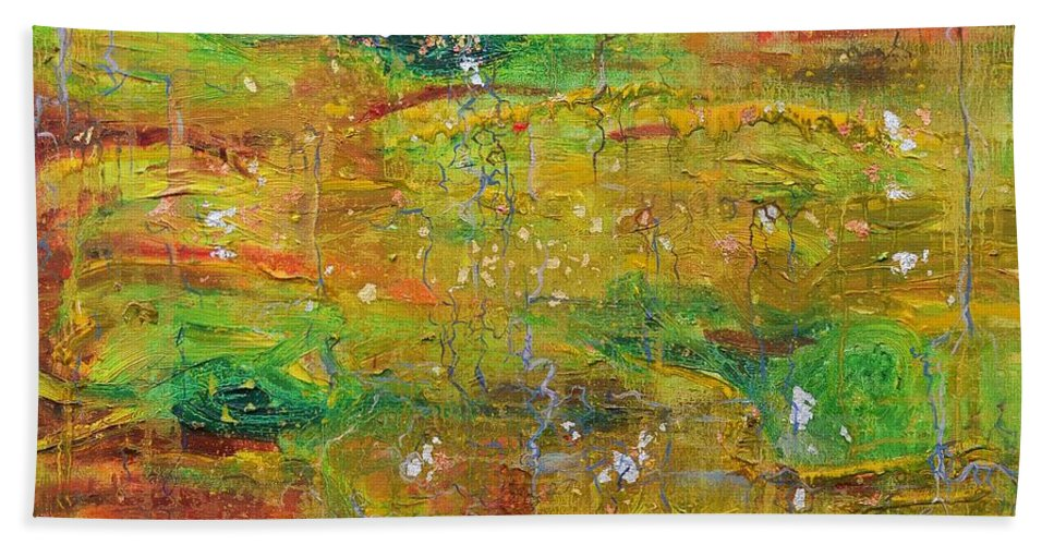 Leaf Hand Towel featuring the painting Seasonal Ecology by Regina Valluzzi
