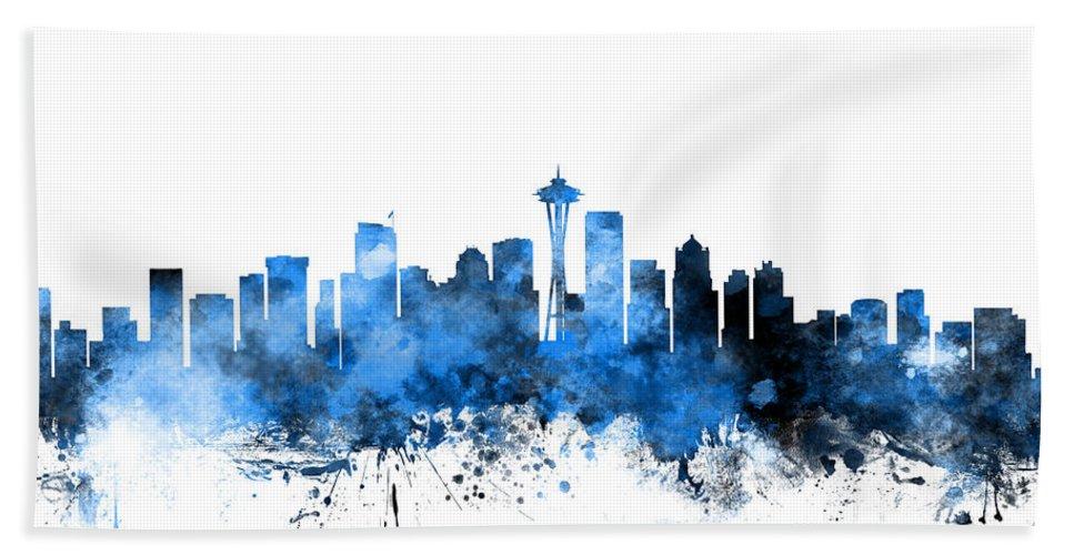 United States Bath Towel featuring the digital art Seattle Washington Skyline by Michael Tompsett