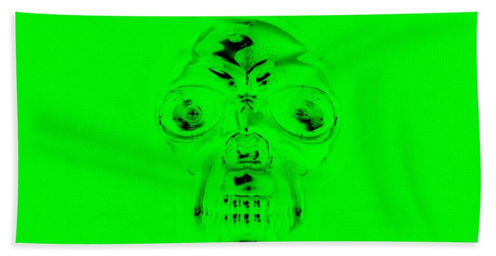 Skull Bath Sheet featuring the photograph Skull In Green by Rob Hans