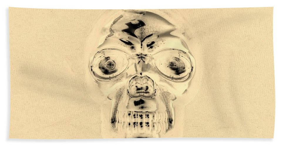 Skull Hand Towel featuring the photograph Skull In Sepia by Rob Hans