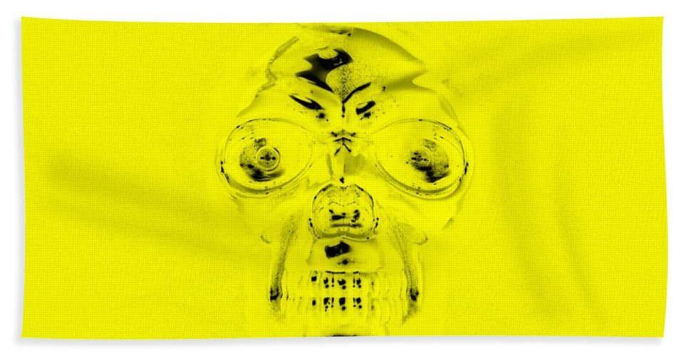 Skull Hand Towel featuring the photograph Skull In Yellow by Rob Hans