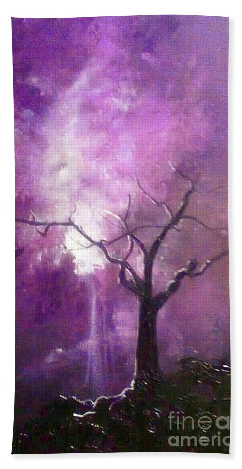 Tree Bath Sheet featuring the painting Skyeden Night by Stefan Duncan