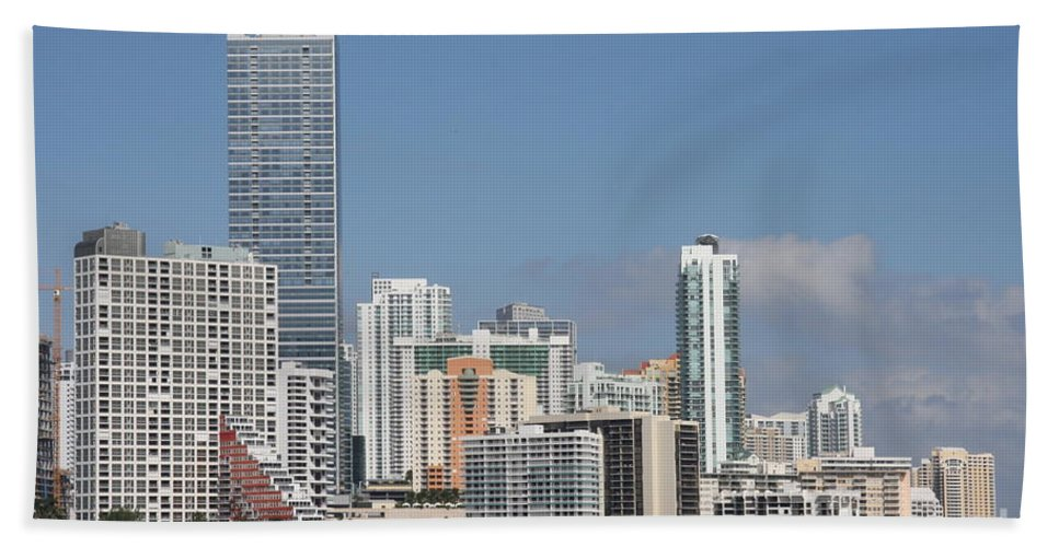 Miami Bath Sheet featuring the photograph Skyline Miami by Christiane Schulze Art And Photography