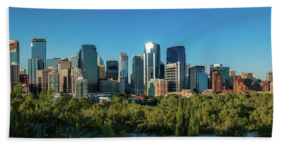 Photography Bath Sheet featuring the photograph Skylines In A City, Bow River, Calgary by Panoramic Images