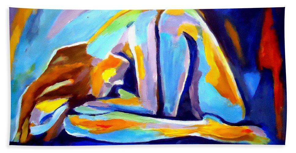 Nude Figures Bath Sheet featuring the painting Sleepless by Helena Wierzbicki