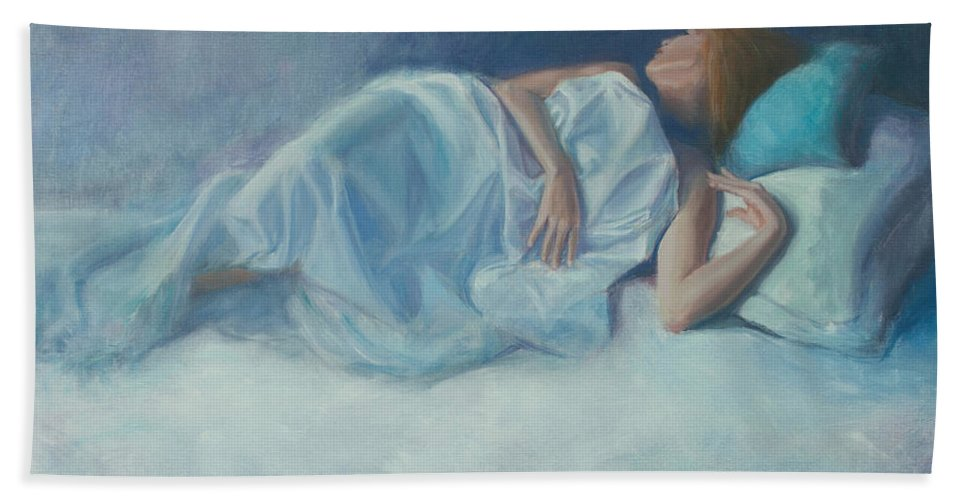 Figurative Hand Towel featuring the painting Slumber by Sarah Parks