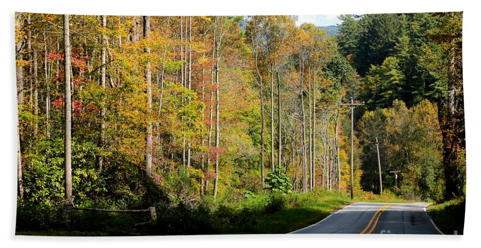 Journey Hand Towel featuring the photograph Smoky Mountain Road Trip by Carol Groenen