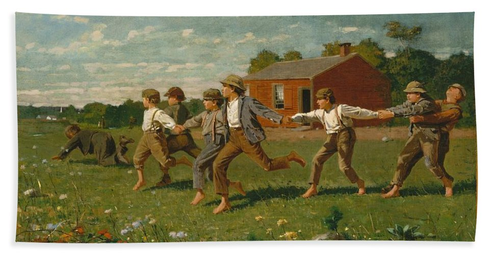 Winslow Homer Bath Sheet featuring the painting Snap The Whip by Winslow Homer