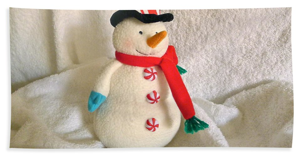 Snowman Hand Towel featuring the photograph Snowman by Denise Mazzocco