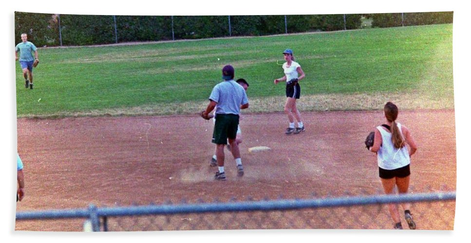 Softball Hand Towel featuring the photograph Softball Game by Karl Rose