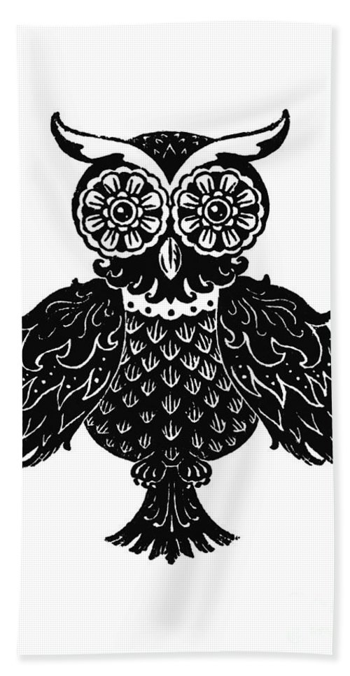 Owl Bath Sheet featuring the painting Sophisticated Owls 1 Of 4 by Kyle Wood