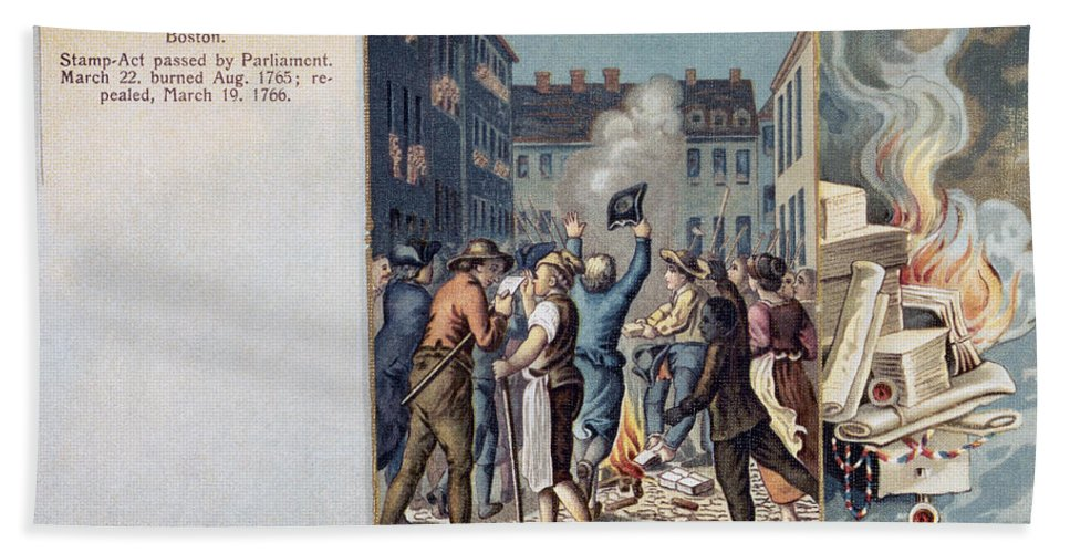 1765 Hand Towel featuring the photograph Stamp Act Riot, 1765 by Granger