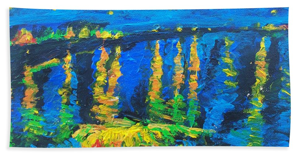 Starry Night Bridge Bath Sheet featuring the painting Starry Night Bridge by Eric Schiabor