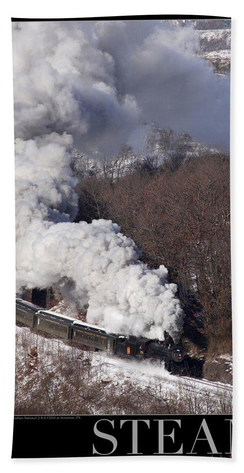 Train Bath Sheet featuring the photograph Steam At Scranton by Daniel Troy