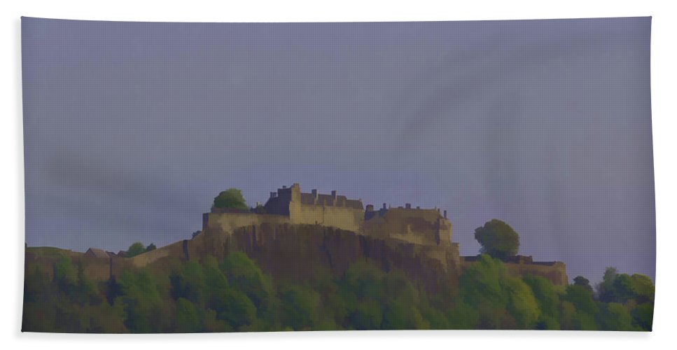 Building Hand Towel featuring the photograph Stirling Castle Located At A Height Above The Surrounding Area by Ashish Agarwal