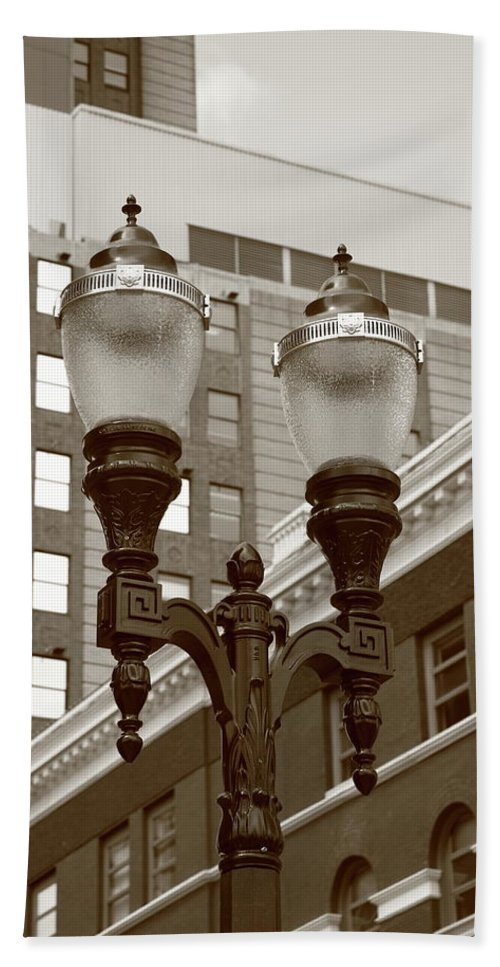 Antique Bath Sheet featuring the photograph Streetlights - Lansing Michigan by Frank Romeo