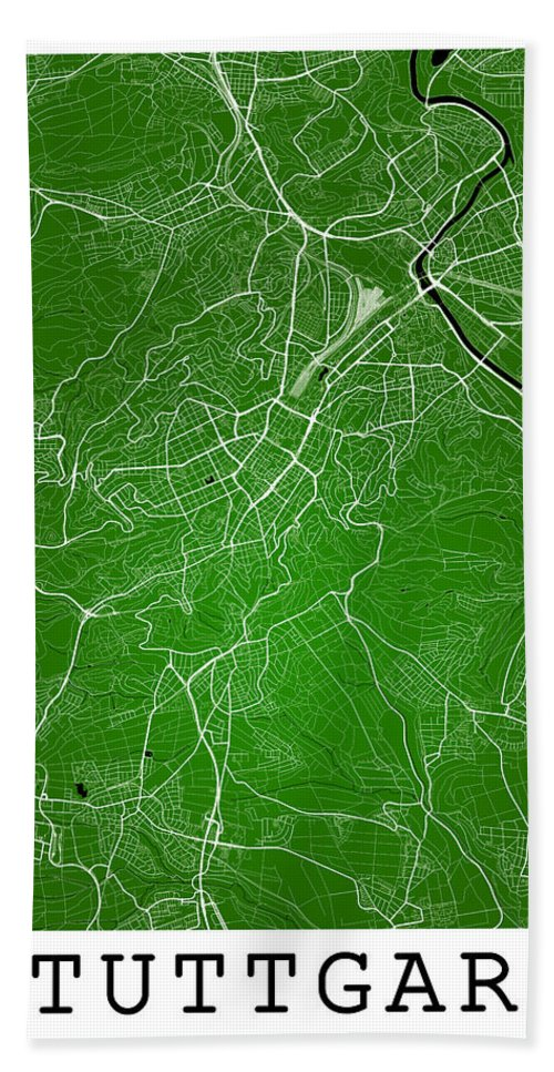 Road Map Hand Towel featuring the digital art Stuttgart Street Map - Stuttgart Germany Road Map Art On Colored by Jurq Studio