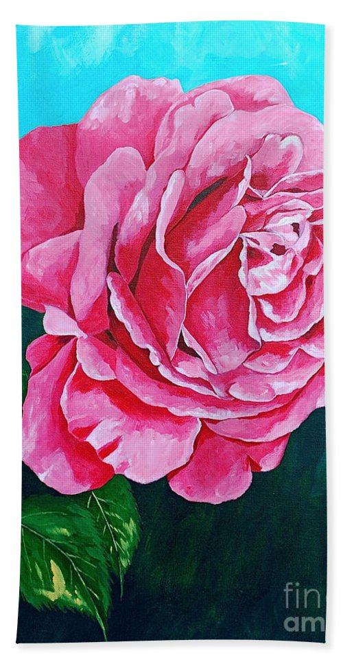 Red Rose Pink Rose Bath Towel featuring the painting Summer Rose by Herschel Fall