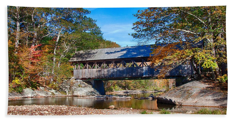 Artist Covered Bridge Hand Towel featuring the photograph Sunday River Covered Bridge by Jeff Folger