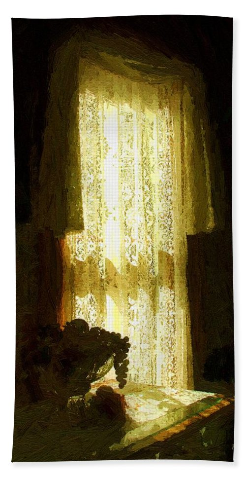 Still Life Hand Towel featuring the painting Sunlight Through Lace by RC deWinter