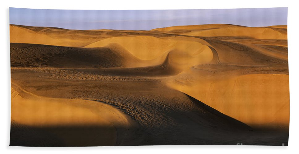 Sunrise At Oceano Sand Dunes Hand Towel featuring the photograph Sunrise At Oceano Sand Dunes by Yefim Bam