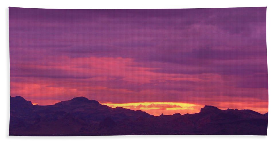 Landscape Bath Sheet featuring the photograph Sunset In Arizona by James Welch