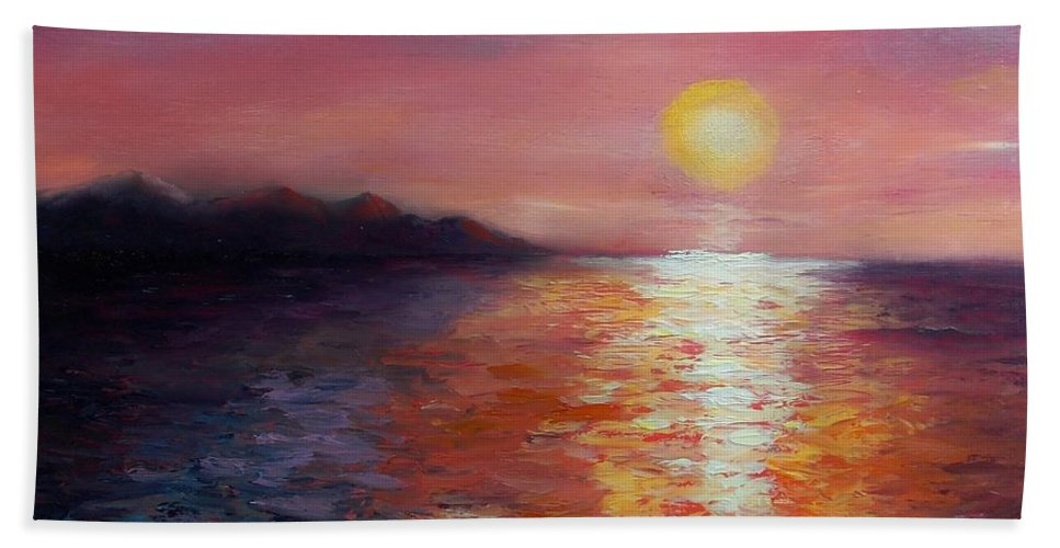 Seascape Hand Towel featuring the painting Sunset In Ixtapa by Marlene Book