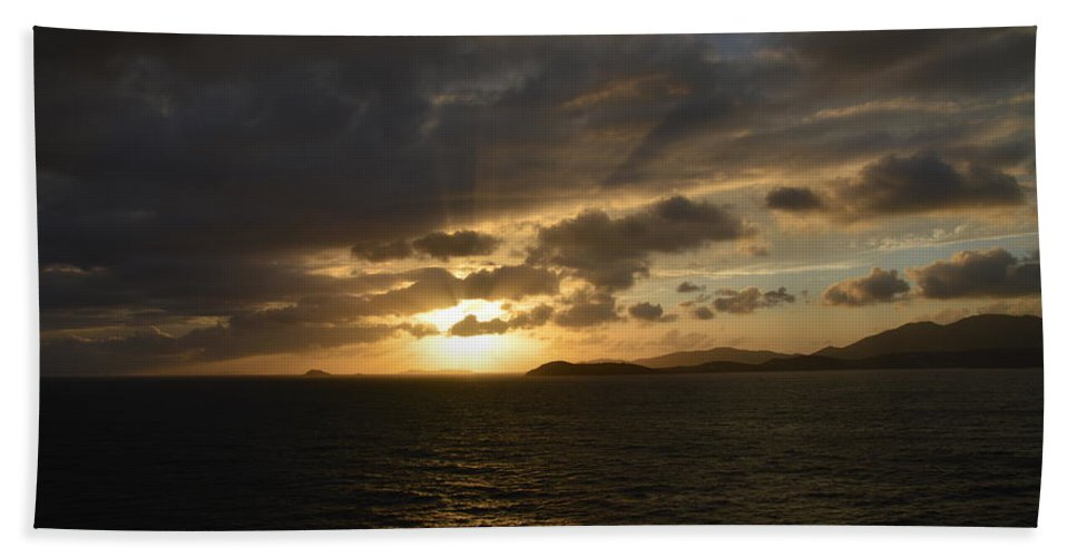 Sunset Hand Towel featuring the photograph Sunset In The Caribbean by Richard Booth
